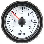 Turbotrykmåler, White Performance, +2,0>1 Bar, Med hvid lys, 12V (Ø52mm) - 1stk.