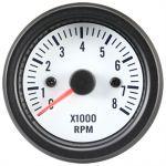 Omdrejningstæller, White Performance, 0-8000, Med hvid lys, 12V (Ø52mm) - 1stk.