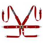 Simoni Racing Seat Belt 6-Point/3-Inch Red + Quick Release/FIA/E-mark/Hans Neck belt