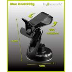 Hypersonic, Smartphone holder, MultiGrip, Universal, Sort, Plastik (ABS) (145x70mm) - 1stk.